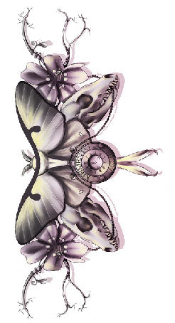 Butterfly, clock and flowers