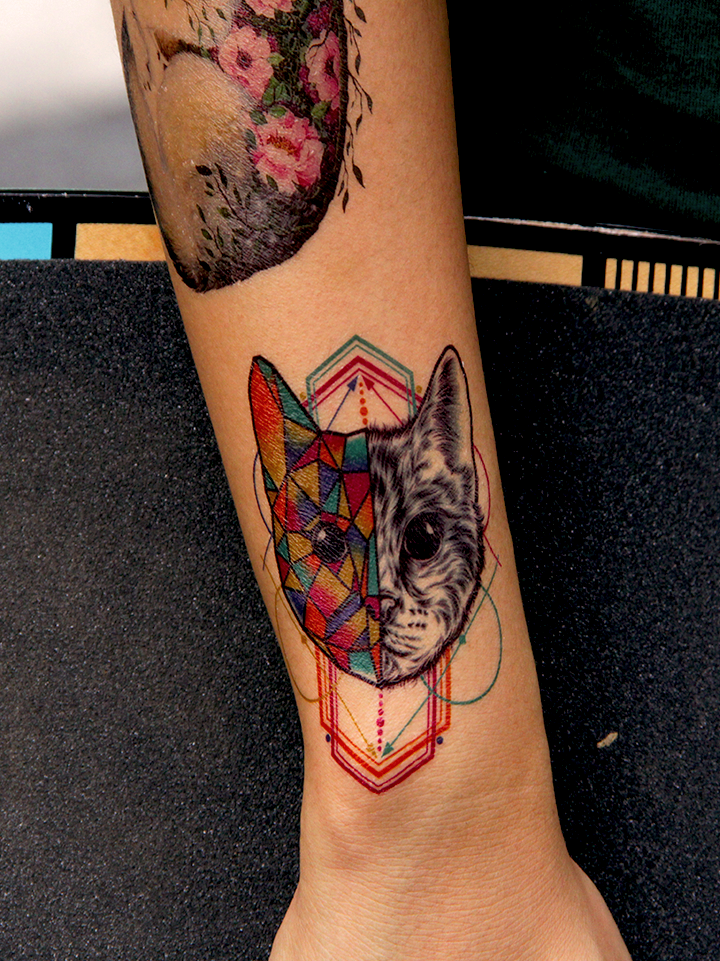Semink-Tattoo Sticker-Geometric Cat Bear And Fox