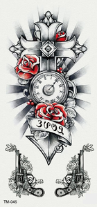 Semink-Tattoo Sticker-clock, flowers and cross