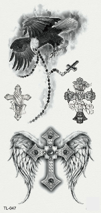 Semink-Tattoo Sticker-Eagle, wings and cross