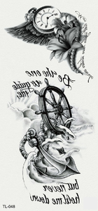 Semink-Tattoo Sticker-Clock, flower, rudder and anchor