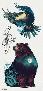 Semink-Tattoo Sticker-Eagle, bear and moon