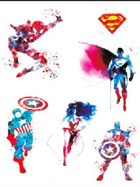 Semink-Tattoo Sticker-Comics-Captain America,Spiderman