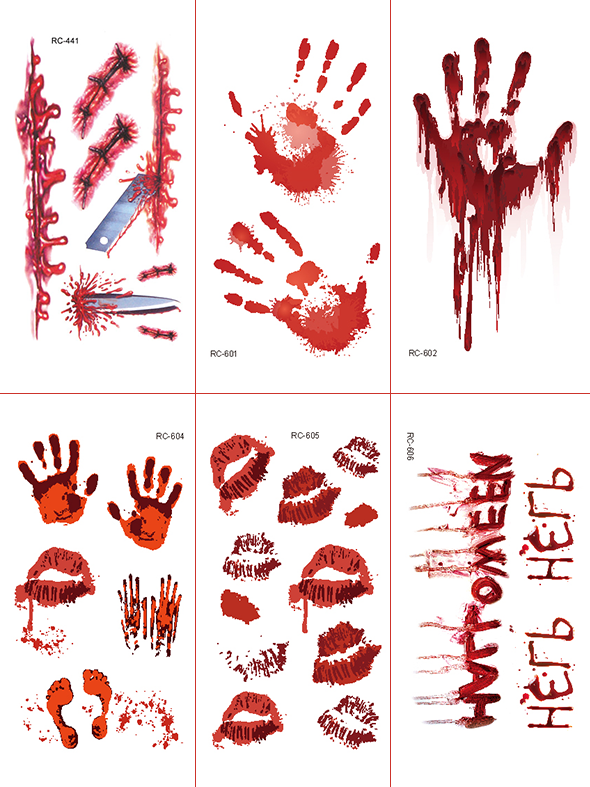 Semink-Tattoo Sticker-Halloween Bloody Palm And Lip Print Help Stickers