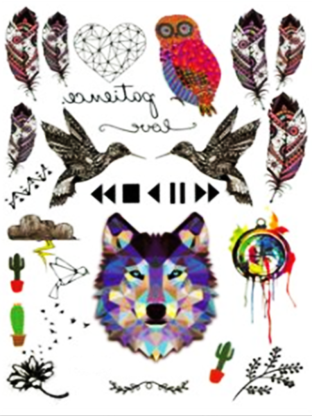 Semink-Tattoo Sticker-The head of wolf,owl,birds and plume