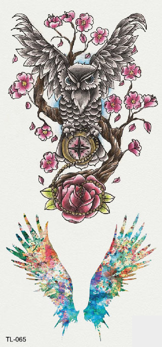 Semink-Tattoo Sticker-Wings, owl and tree