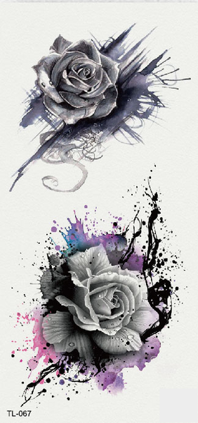 Semink-Tattoo Sticker-Rose with ink drawing