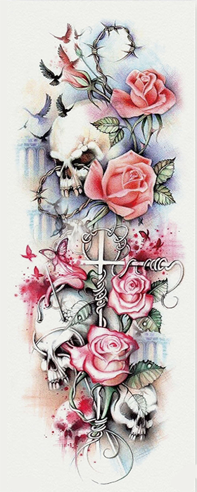 Human skulls, rose, birds and butterflies