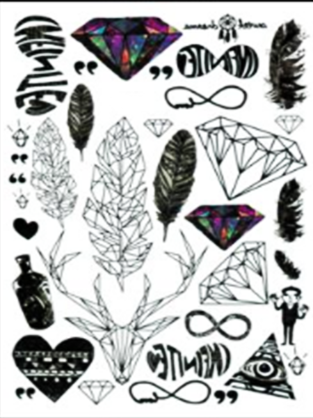 Semink-Tattoo Sticker-Deer,heart,plume and dimond