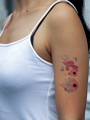 Semink-Tattoo Sticker-Fox And Flower Leaves Diamond
