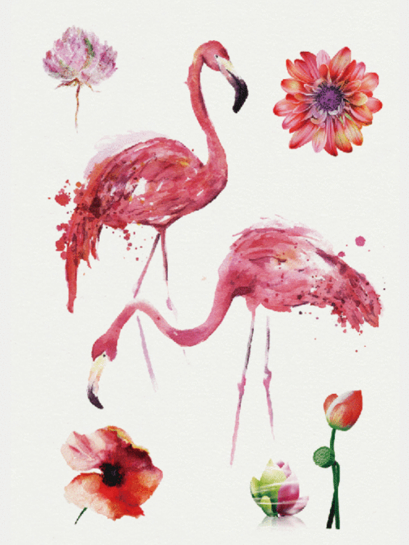 Semink--Flamingo And Flowers-I
