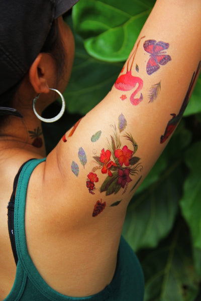 Semink-Tattoo Sticker-Birds With A Birdcage And Flowers