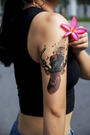Semink-Tattoo Sticker-Stag With A Flowered Topper Hat Birds Butterflies Doe And Roe