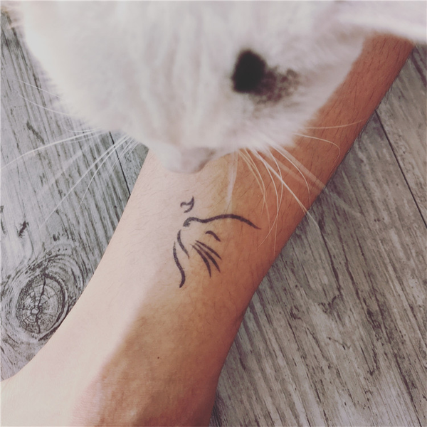 Semink-2 Week Temporary Tattoos-Minimalist Tattoo Cat