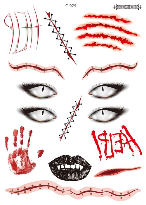 Semink-Tattoo Sticker-Halloween four eyes bloody scary stickers