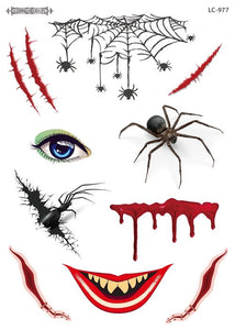 Semink-Tattoo Sticker-Halloween giant spider scary makeup sticker