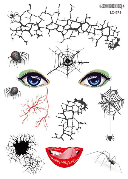 Semink-Tattoo Sticker-Halloween spider web face horror waterproof sticker