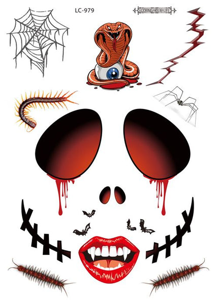 Semink-Tattoo Sticker-Halloween Snake Spider Horror Art Face Sticker