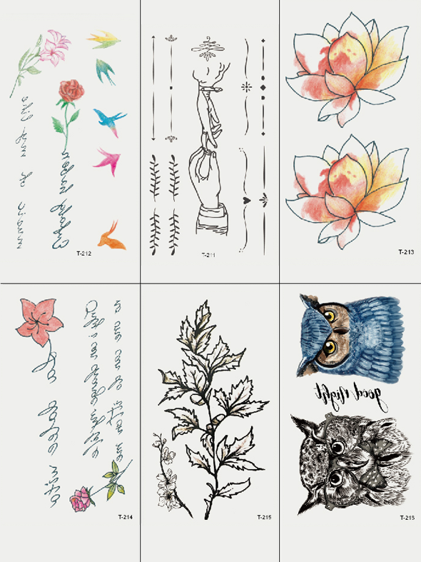 Semink-Tattoo Sticker-Owls Lotus And Quotes