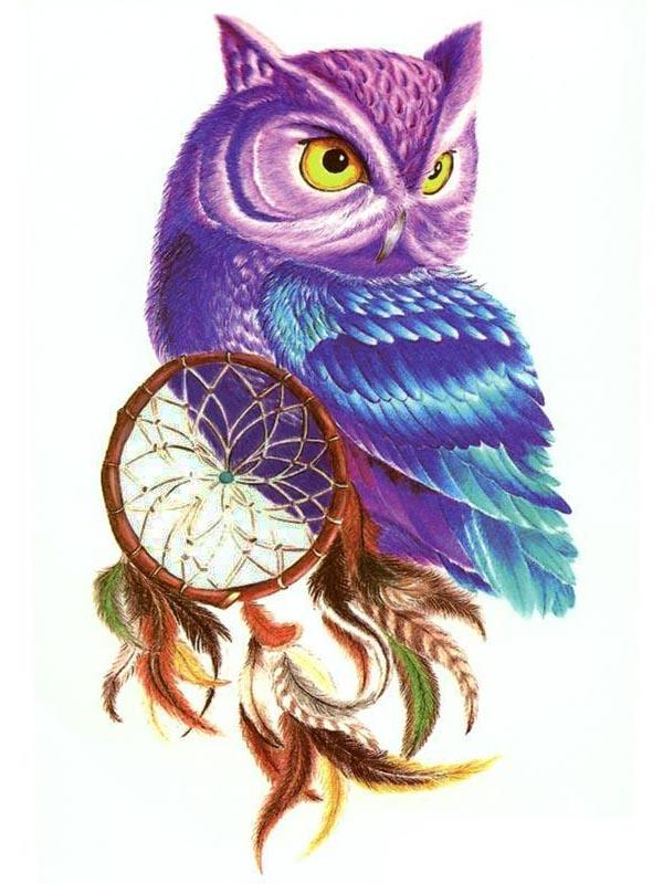 Semink-Tattoo Sticker-PURPLE OWL & DREAMCATCHER
