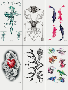 Semink-Tattoo Sticker-Ruby With Flower Deer And Fish