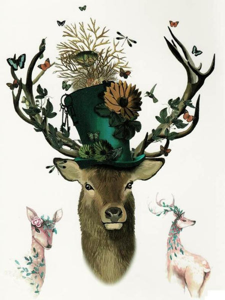 Semink--Stag With A Flowered Topper Hat Birds Butterflies Doe And Roe-I