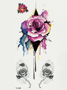 Semink-Tattoo Sticker-Watercolor Vintage Rose
