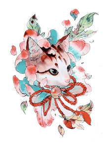 Semink--Watercolor Cat Biting Tinkle Bell-I
