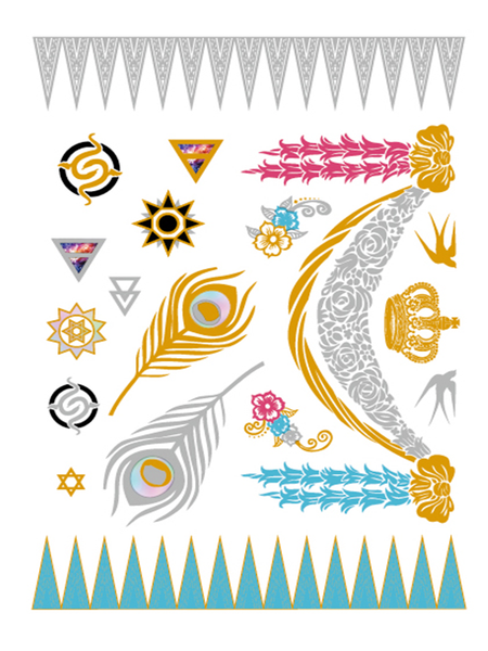 Semink-Tattoo Sticker-The Beautiful Tassels With Crown And The Flowers