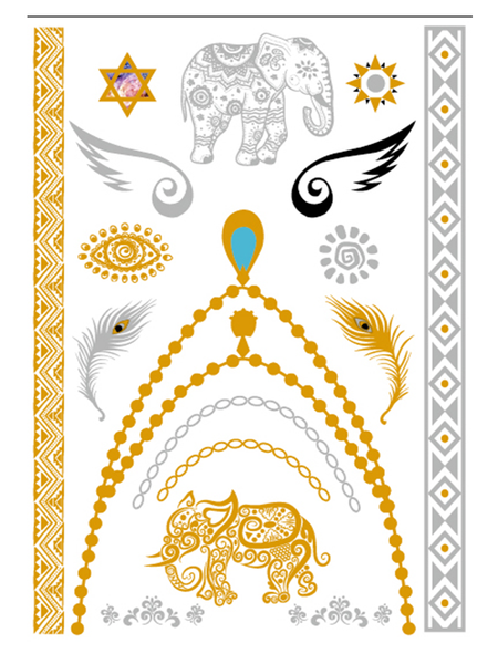Semink-Tattoo Sticker-Golden Necklace And Two Little Elephants