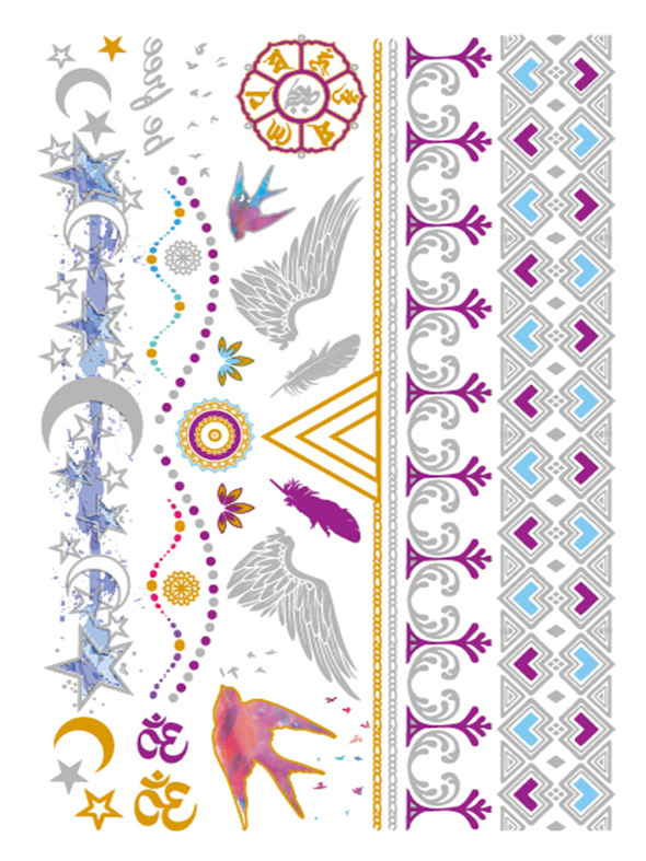 Semink-Tattoo Sticker-Stars,Birds And Wings