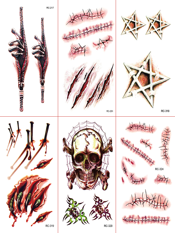 Semink-Tattoo Sticker-Halloween Skull and Bloody Palm Scary Stickers