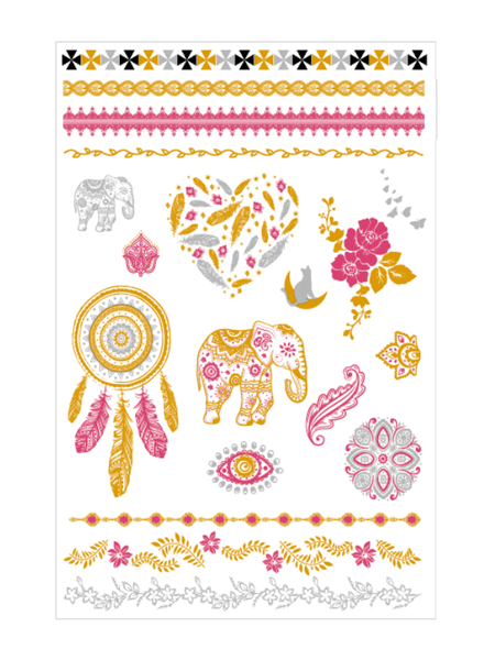 Semink-Tattoo Sticker-Golden And Red Dream Catcher Elephant Flower Heart