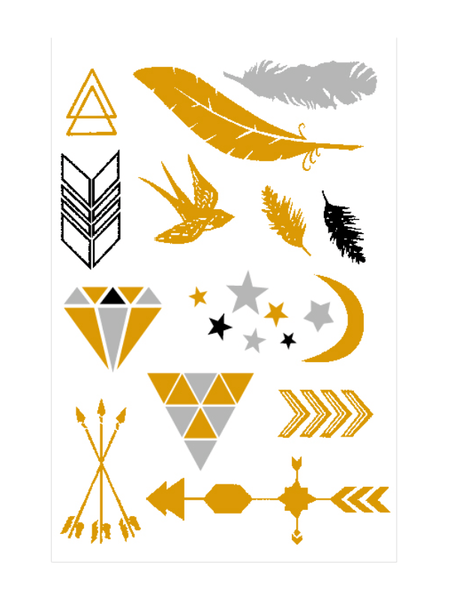Semink-Tattoo Sticker-Golden And Silver Arrow Diamond