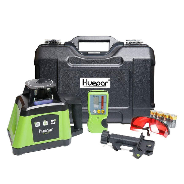 Huepar Electronic Self-Leveling Rotary Laser Level Kit -360 Horizontal Laser Beam Interior/Exterior Rotating Laser Level Tool  RL200HR