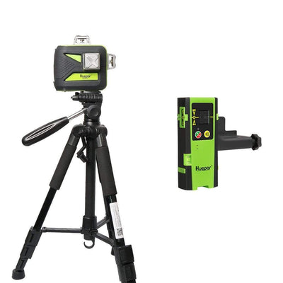 Cross Line Laser Level with 12 Lines 3D Green Beam 603CG with LCD Receiver USB Charging LR6RG & Tripod TPD14 Huepar Combo