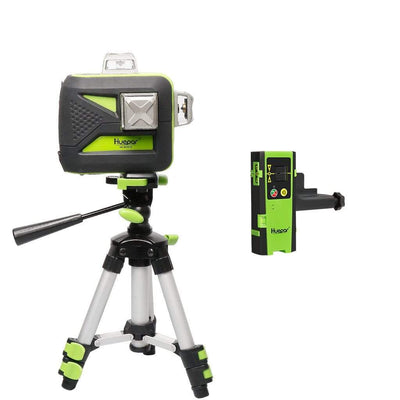 Huepar 12 Lines 3D Green Cross Line Laser Level 603CG with LCD Receiver USB Charging LR6RG & Tripod TPD05