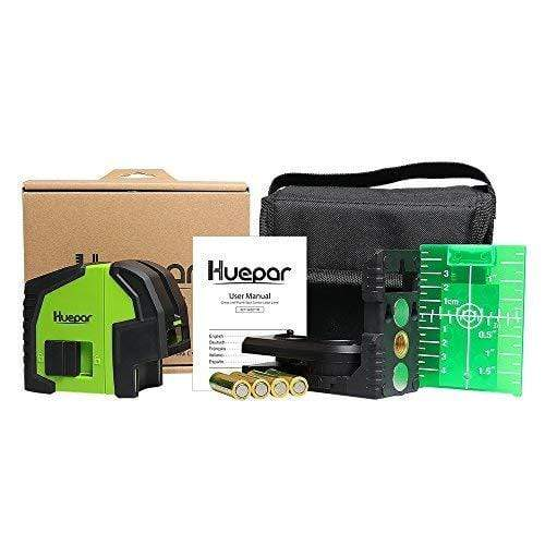 Huepar Cross Line Laser Level with 2 Plumb Dots 8211G Professional Green Laser Beam