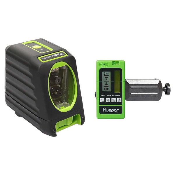 Huepar Self leveling rotary laser level Box1G 98ft 30m Cross Line Laser Level & LR5RG Combo