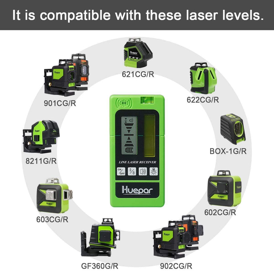 Huepar LR-5RG-GN Laser Detector for Laser Level - Green and Red Beam Receiver
