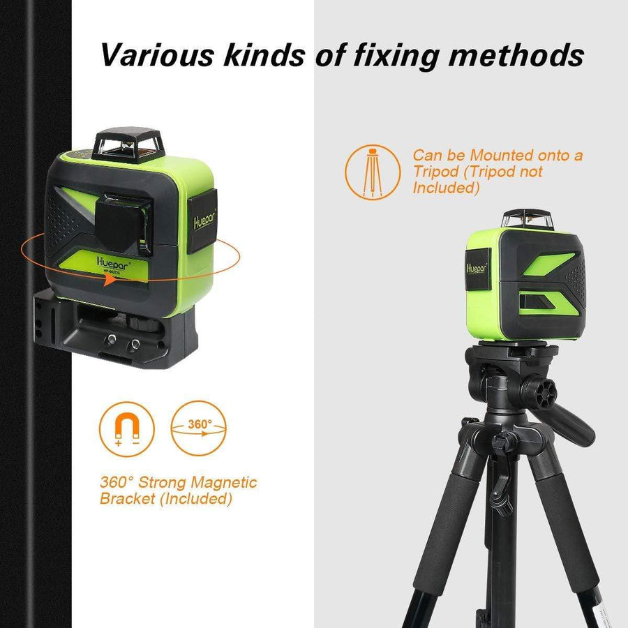 Huepar Laser Level 360 degree Green 3d Self Leveling USB Charge Use Dry Li-ion Battery 602CG