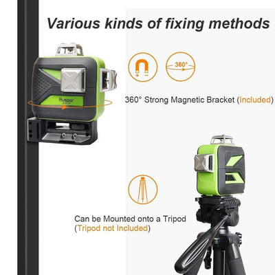 Cross Line Laser Level 12 Lines 3D Green Beam 603CG with LCD Receiver USB Charging LR6RG & Adapter AT2 & Glasses Huepar Combo