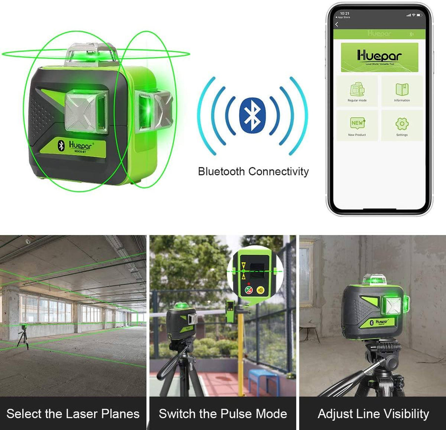 3x360 Green Beam 3D Laser Level with Bluetooth Connectivity, Three-Plane Self-Leveling and Alignment Cross Line Laser Level Tool Huepar 603CG-BT
