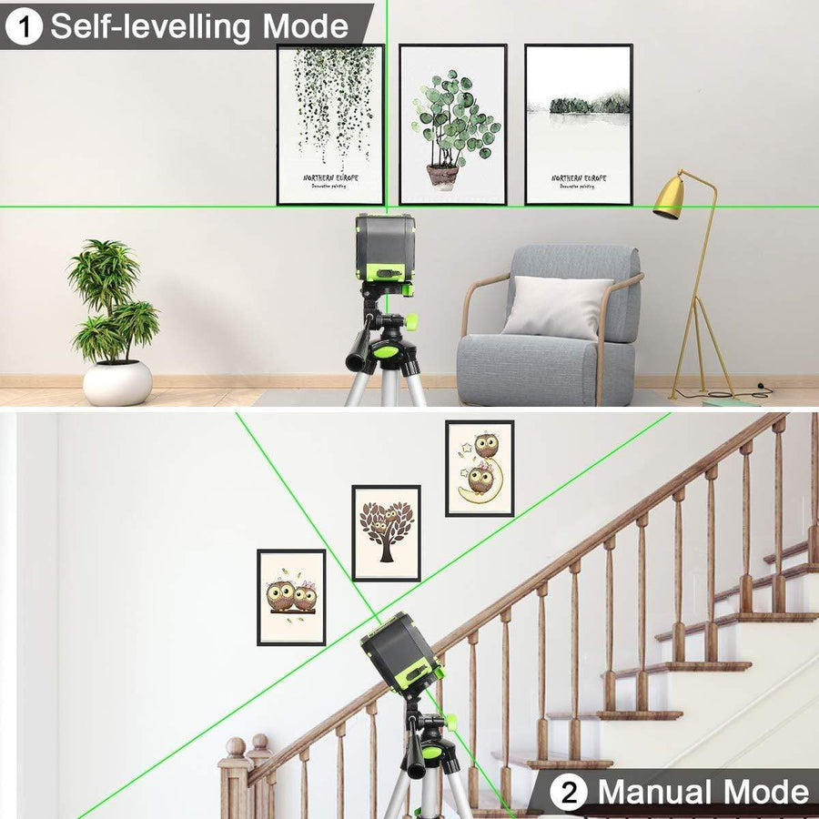 Huepar Self-leveling Laser Level with Rechargeable Li-ion Battery- Green Beam Cross Line Laser Level with Pulse Mode for Ceiling/Floor/Wall Application 5011G