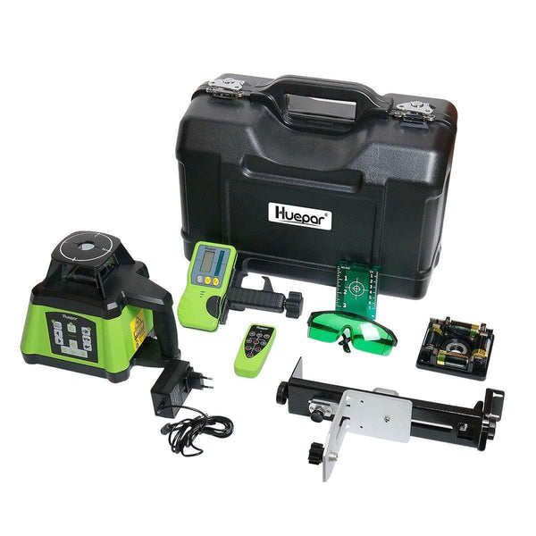 Huepar Electronic Self-Leveling Green Rotary Laser Level Kit, Remote Control, Receiver Included RL200HVG
