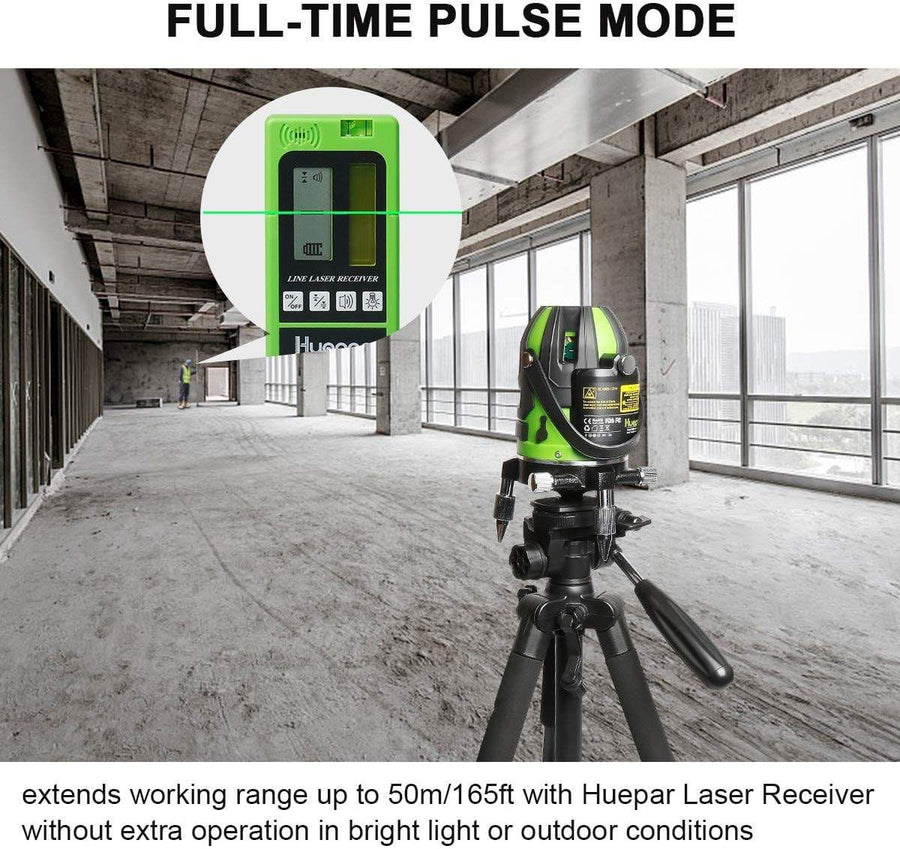 Huepar Green Beam Multi-Line Laser Level - Alignment Self-leveling Laser Tool - 360° Rotating Base, Hard Carrying Case Included 6141G