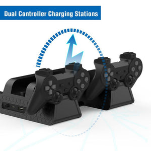 PS4 Gaming Tower with Cooling Fan and Controller Charge Dock