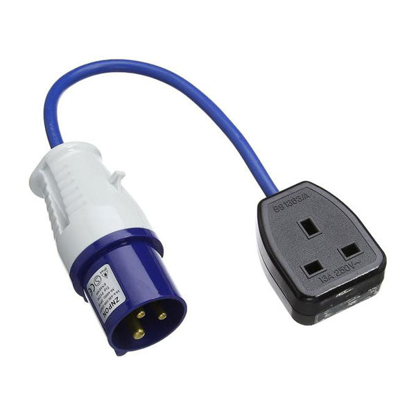 Fly-lead 16A 230V Plug to 13A 1 Gang Socket
