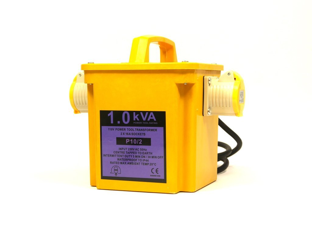 1kVA or 1000VA Intermittent Rated Portable Isolation Transformer Twin Socket/ Power Tool Transformer - Product Code P10/2