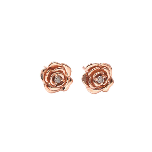 Tea Rose Diamond Earrings